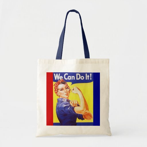 "Tote ""We Can Do It!"" Slogan Rosie the Riveter Tote Bag"