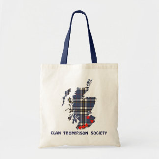 Tote with Clan Thom P son Society and tartan map Canvas Bag