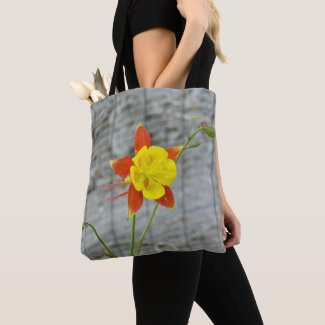 Tote with columbine flower