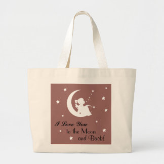 """Tote with Saying """"I Love You to the Moon and Back"""""""