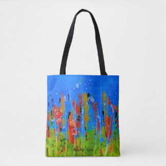 Tote with splashed-colors