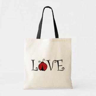 Totebag del amor de la mariquita bolsa tela barata