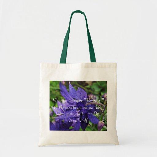 Totebag floreciente de la cita de la flor del iris bolsa de mano