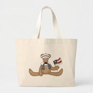 Totebag patriótico del oso de peluche bolsa de tela grande
