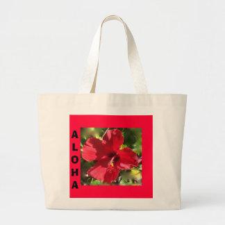 Totebag rojo hawaiano del hibisco bolsa de tela grande