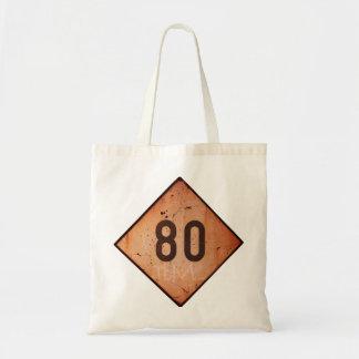 ToteBag: Vintage Railroad 80 Speed Train Sign Tote Bag