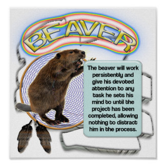 TOTEM BEAVER - TEACHES  PERSEVERANCE POSTER