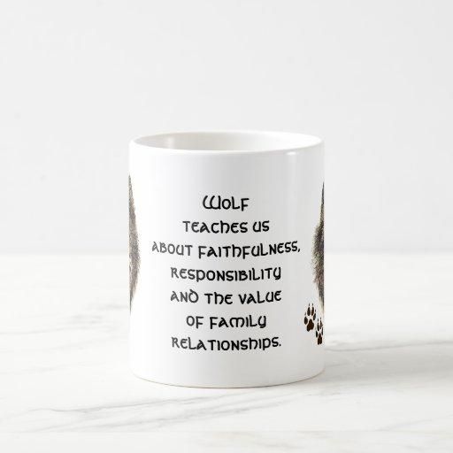 Tótem del lobo, guía animal inspirada tazas de café