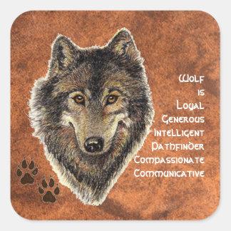 Tótem del lobo, símbolo inspirado de la guía pegatina cuadrada