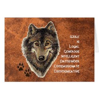 Tótem del lobo, símbolo inspirado de la guía tarjeta de felicitación