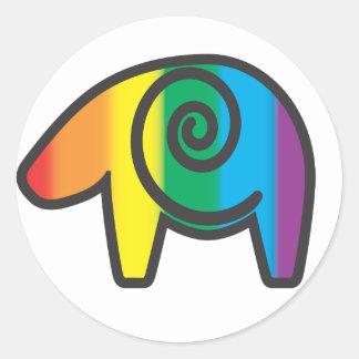 Tótem del oso del arco iris pegatinas redondas