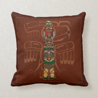 Totem Native American Folk Art Throw Pillow