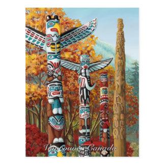 Tótem Painti de Vancouver de la postal del arte de