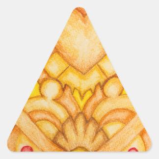 Tótem pintado a mano del arte pegatina triangular