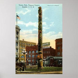Tótem, pionero Sq., vintage 1915 de Seattle Poster