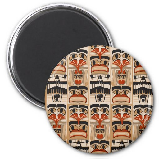 Totem Pole 2 Inch Round Magnet