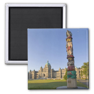Totem pole at the Parliament building in 2 Inch Square Magnet