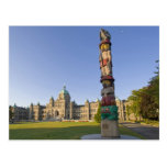 Totem pole at the Parliament building in Postcard