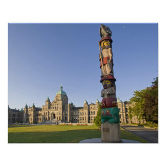 Totem pole at the Parliament building in Poster