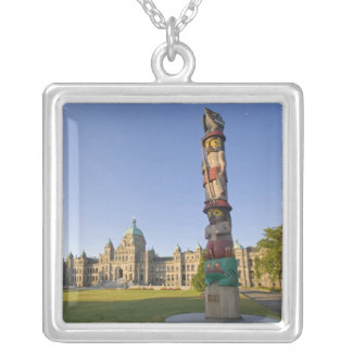 Totem pole at the Parliament building in Silver Plated Necklace