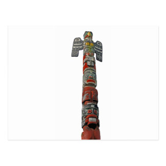 Totem pole carved from cedar postcard
