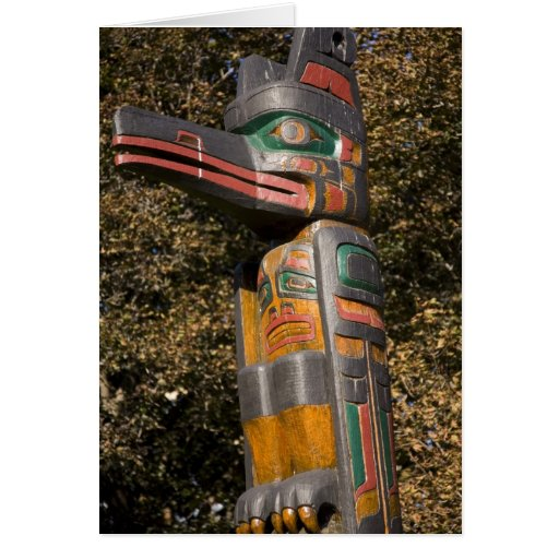Totem pole in park in Ottawa, Ontario, Canada Cards