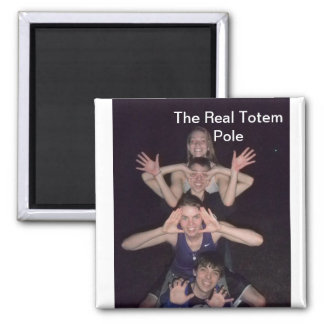 totem pole.jpg, The Real Totem Pole 2 Inch Square Magnet