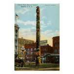 Totem Pole, Pioneer Sq., Seattle 1915 vintage Poster