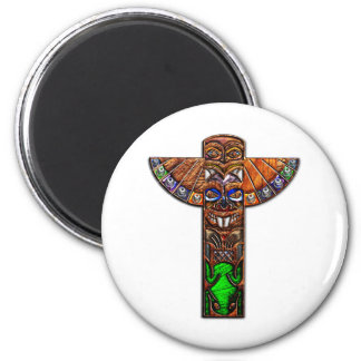 Totem Pole Spirit Creatures 2 Inch Round Magnet