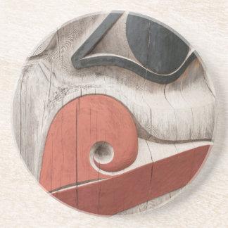Totem poles at Haida Heritage Centre Museum Beverage Coasters