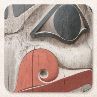 Totem poles at Haida Heritage Centre Museum Square Paper Coaster