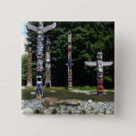 Totem poles, Vancouver, British Colombia Pinback Button