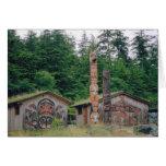 Tótem postes Alaska Tarjetón