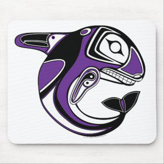 Tótem púrpura Mousepan de la ballena Mousepads