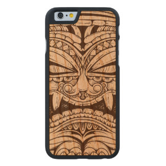 Tótem que talla la madera asustadiza feroz de la funda de iPhone 6 carved® de cerezo