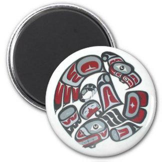 Tótem tribal del nativo americano de la música imán redondo 5 cm