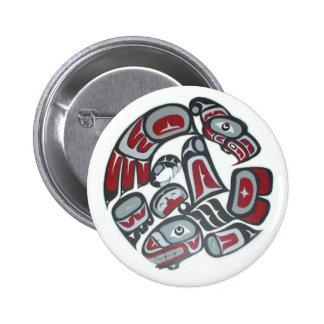 Tótem tribal del nativo americano de la música pin redondo 5 cm