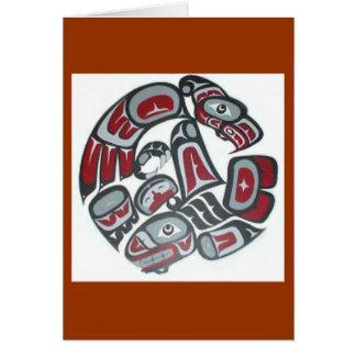 Tótem tribal del nativo americano de la música tarjeta de felicitación