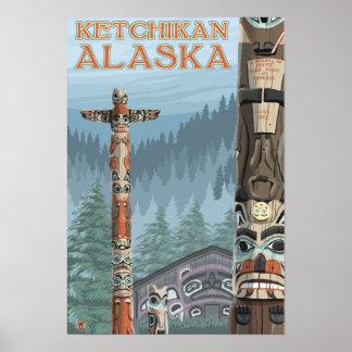 Tótemes de Alaska - Ketchikan, Alaska Póster