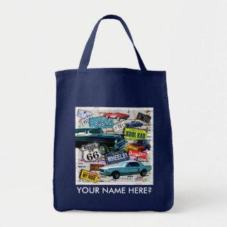 Totes y bolsos clásicos de los coches de la ruta 6 bolsa tela para la compra