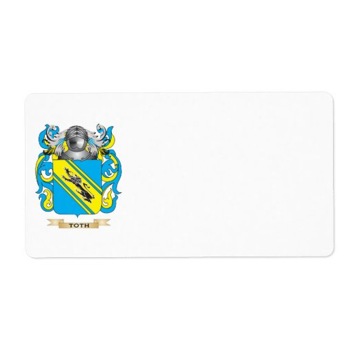 Toth Family Crest (Coat of Arms) Shipping Label