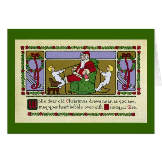 Tots Tie Santa To Chair Vintage Christmas Card