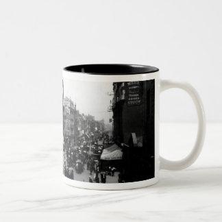Tottenham Court Road from Oxford Street, Two-Tone Coffee Mug