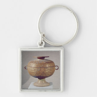 Tou' vessel with a serpentine decoration Silver-Colored square keychain