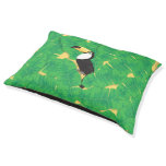 Toucan and banana leaves pet bed