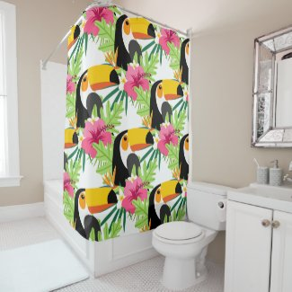 Toucan Bird Tropical Colorful Fun Pattern Shower Curtain
