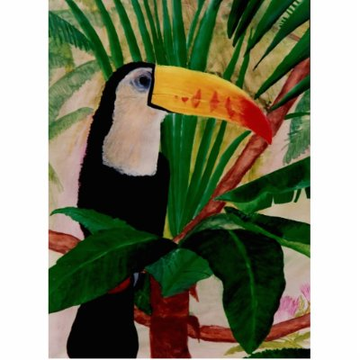Tropical Bird Painting on Toucan Bird Tropical Jungle Scenic Earth Painting Photo Cutouts From