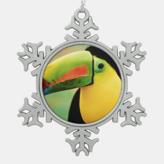 Toucan Bird Wild Nature Colorful Photography Snowflake Pewter Christmas Ornament