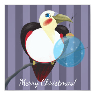 Toucan Bird with Christmas Tree Ball Greeting Card