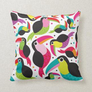 Toucan brazil retro kids pattern throw pillow